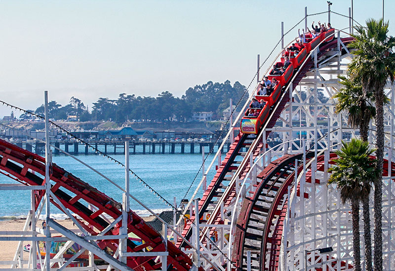 Giant Dipper roller coaster across the street at the Santa Cruz Beach Boardwalk